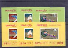 100 Jahre UPU, Space, Schiff - Kambodscha - 6 Bl. grün, gelb ** MNH 1974