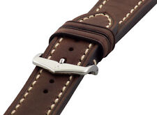 Hirsch LIBERTY Artisan Leather Contrast Stitch Watch Band Strap Brown 22mm