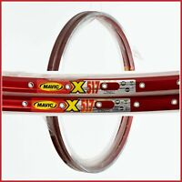 """NOS MAVIC X517 RIMS VINTAGE MTB MOUNTAIN BIKE 90s 26"""" INCHES 36h HOLES RED NEW"""