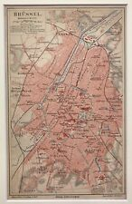 Original Antique City Map In Colour Of Brussels Brüssel. 1885. Meyer. In German.