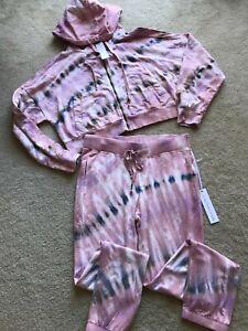 NWT NEW Young Fabulous & Broke sweatshirt top front zip pants M MEDIUM tie dye