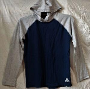 Reebok Casual/Logo/Athletic LS T-Shirt/Hoodie--Navy Blue/Gray--Medium 10/12