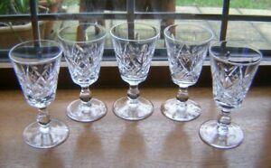 """BEAUTIFULL SET 5 `STUART` HAND CUT CRYSTAL SHERRY GLASSES GLENGARRY CUT 4"""" VGUC"""