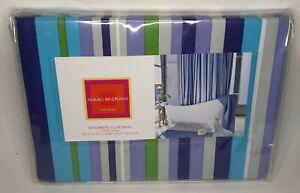 2005 Isaac Mizrahi Turquoise Green Lavender Navy Gray Vinyl Shower Curtain 72x72