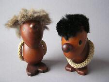 2x Holz Teak Figur Paar Optimist + Pessimist Hans Bolling T. Orskov & Co Denmark