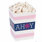 Nautical Popcorn Favor Boxes; It's A Girl Favor Box; Ready to Pop; Pink anchors