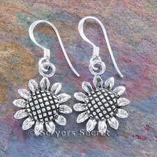 925 Sterling Silver SUNFLOWER Garden Sun Flower Earrings Hook Dangle