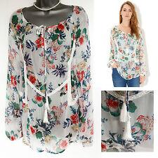 MONSOON Ivory Gema Botanical Floral Print Tie Neck Shirt Blouse  UK 8  EU 36 £45
