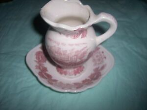 MINI PITCHER AND BOWL  - JAPAN - PINK / WHITE