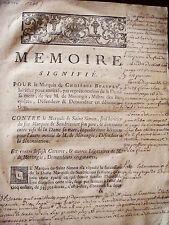 1756 DROIT MEMOIRE DE PROCES ENTRE MARQUIS DE CHOISEUL ET MARQUIS DE ST SIMON