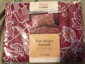 ONE Martha Stewart PILLOW SHAM Woven  Blooms Classic Elegance New