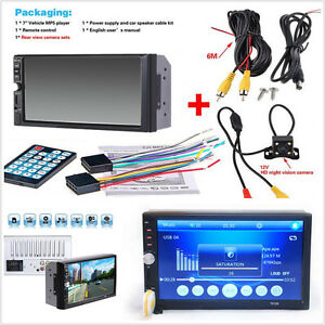 "7""HD Touch Screen Car Radio Audio Stereo MP5 Player 2Din USB FM BT+Camera"