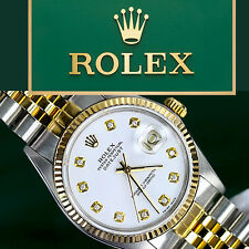 Rolex 36mm Datejust2Tone White Color Dial with Diamonds