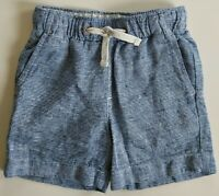Crewcuts Boys Dock Shorts 4 Linen Blue White Elastic Waist Drawstring Pockets