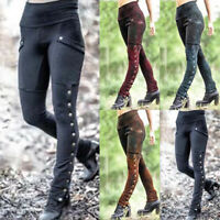 Womens Sexy Vintage Retro Skinny Pants Punk High Waist Casual Slim Fit Trousers