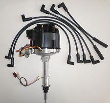 CHEVY Inline/Straight 6 194-230-250-292 HEI Distributor & BLACK Spark Plug Wires