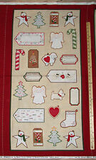 """Wrapped in Joy Christmas Marcus Fabric Label Tag Panel 23""""   #R25-2888"""