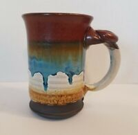 """Doug Adams Wheel Thrown Stoneware Clay Pottery Cup/Mug """"The Wave"""" Signed #1"""