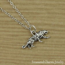 Silver Tiger Charm Necklace - Wild Zoo Animal Panther Pendant Jewelry NEW