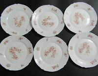 "Arc Arcopal France FLORENTINE Dinner Plates 10 1/4"" Pink Flowers ~ Lot of 6"