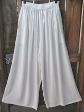 ART TO WEAR FLOWING PALAZZO PANTS IN CLASSIC SOLID WHITE BY MISSION CANYON,OS+,