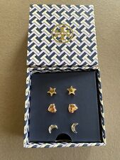 Tory Burch Celestial Earring Set Moon-star-heart With Tag