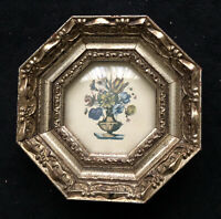 Antique Italian Octagonal Picture Frames Floral Art Prints Decorative Arts Rare