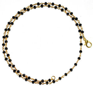 """Black Spinel Rosary Beads Neckalce 18"""" Strand Faceted Gold Plated Wire VCD2255"""