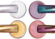 Effekt Chrome Pigment Set Silber Gold Flip Flop Blau-Lila Violett-Orange Nailart