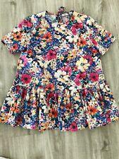 Zara Bluse Top Shirt Tunika Blumen Flower S 36 Blogger Oberteil