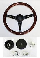 """60-69 Chevrolet C10 Pick Up 15"""" Steering Wheel Dark Wood Grip on Black Spokes"""