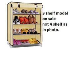 Shoe Rack Storage Unit Trainers Canvas 3 Fabric Shelf Home Porch Hallway