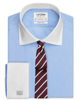 T.M.Lewin End-on-End Regular Fit Sky Blue Double Cuff Shirt