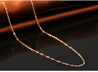 Onsell  Fashion Solid 18K Rose Gold Necklace Singapore Link Chain 0.7mm 17.7inch