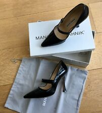 Manolo Blahnik black patent shoes size 35.5 with original dust bag and box