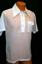 NOS M Vtg 60 70s Mac Taggart White Semi-Sheer Nubby Knit Pullover Shirt Polo