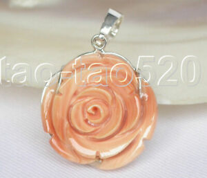 AAA natural 25mm carved rose shape golden South Sea coral pendant 925ss k311