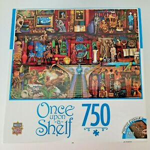 """MasterPieces Puzzle NEW Once Upon a Shelf 750 Jigsaw 24"""" X 18"""" RARE History Art"""