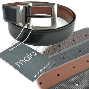 Mala Leather Quality Leather Reversible Belt Black Brown Plain Snake Cross Strip