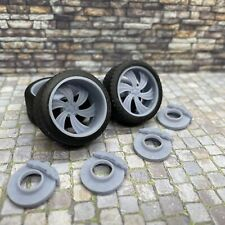 """1/24 Scale 3D Printed 20"""" Staggered Depth Killer Six Wheels w/ Tires & Brakes"""