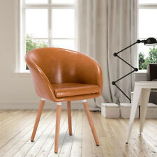 Esszimmerstuhl Küchenstuhl mit Arm- und Rückenlehne Kunstleder Braun BH73br-1