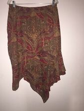 Womens David Loren assymetrical skirt size L- Paisley pattern