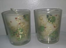 Beautiful Christmas Holly Berry Gold Foil Votive Glass Candles》Set of 2