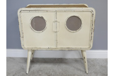 Industrial Style Rustic Metal Cabinet - Storage Unit / Small Chest - Retro White