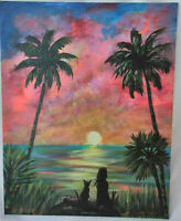 Original Acrylic Painting 8 x 10 Canvas Panel,Girl Cat Sunset Seascape Art