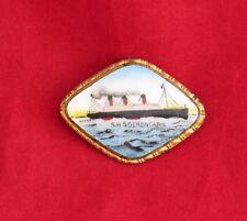 1920s Cunard BERENGARIA Hand-Painted Portrait Pin - NAUTIQUES sHiPs WORLDWIDE
