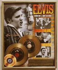 'ELVIS' GOLD  PLATED RECORDS HOUND DOG / DON'T BE CRUEL FRAMED**45% OFF***