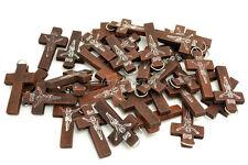 FREE Wholesale Lots 50pcs JESUS Cross Wood Beads Pendants Fit Necklace New B63