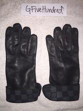 Used AUTHENTIC Louis Vuitton Damier Graphite Men's Leather Gloves M