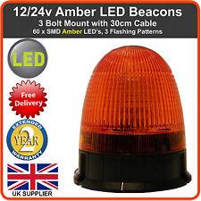 LED BEACON 3 Bolt 12/24v Recovery Flashing Warning Strobe Lights lightbar Amber